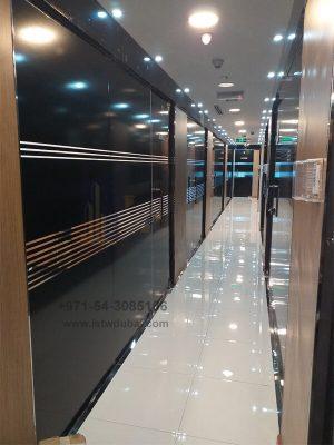 black profile glass partition