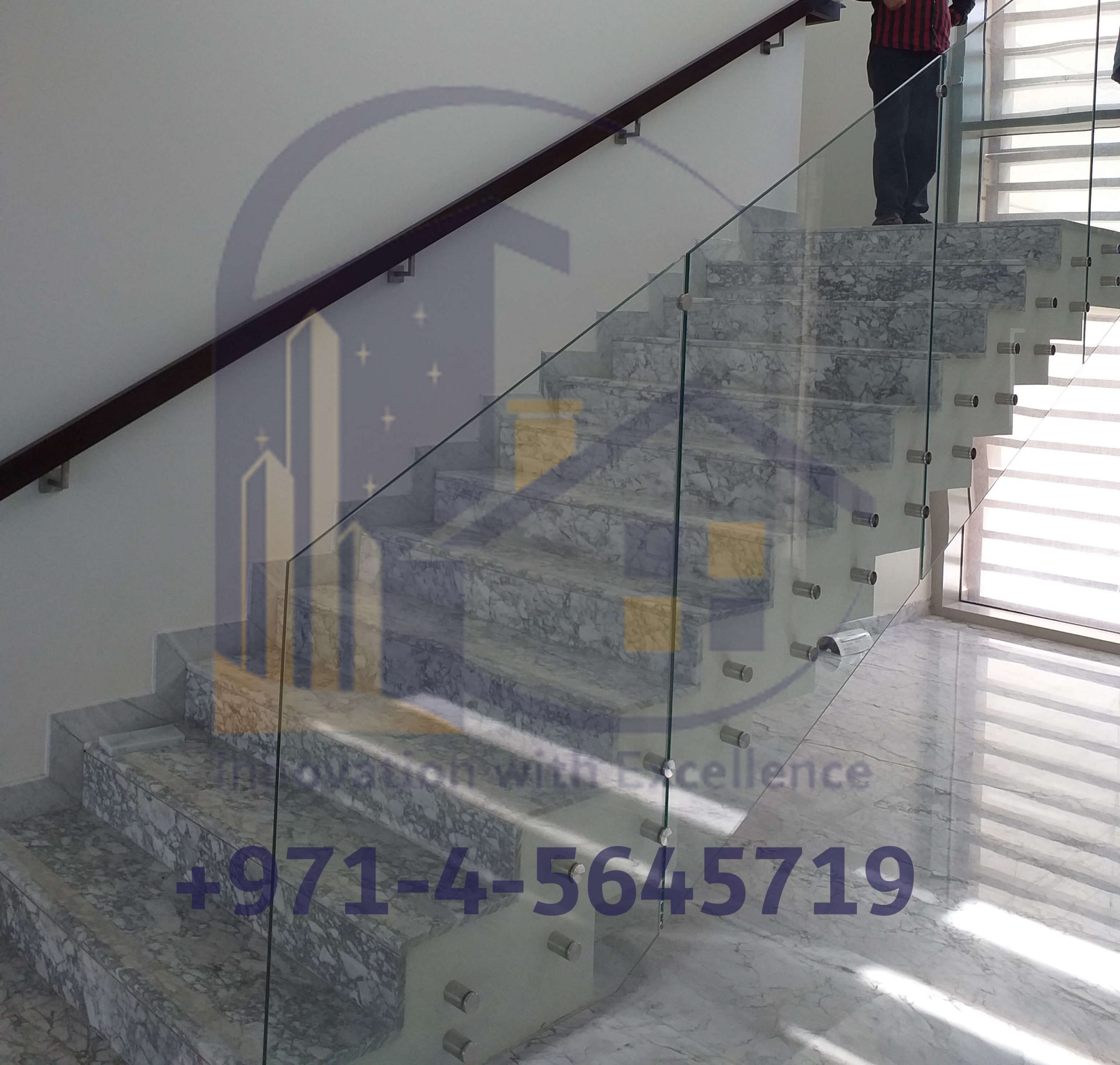 Frameless Staircase Glass in Dubai