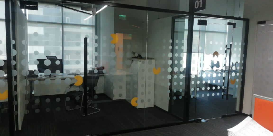 Glass Partition with Frosted Design
