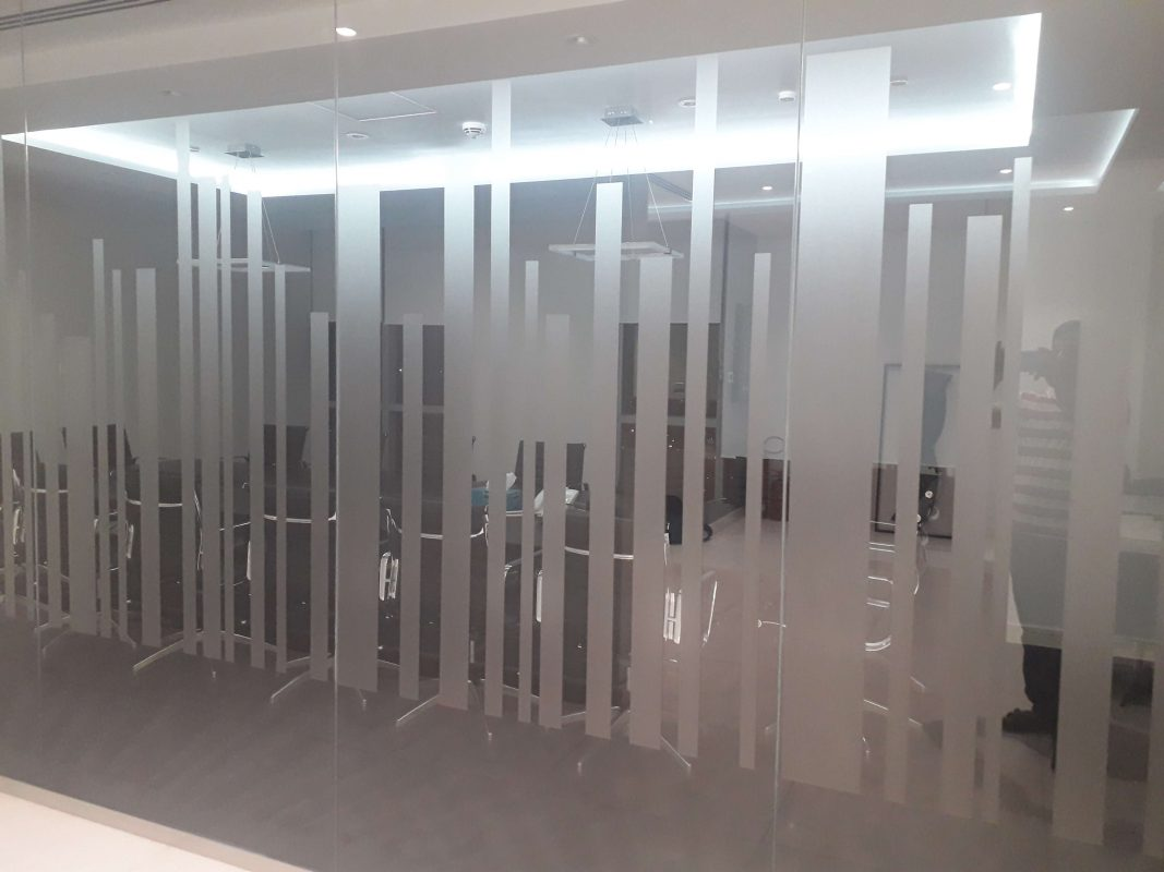 Glass Partition with Strips